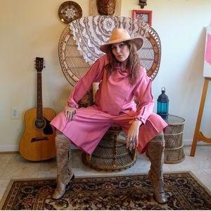 80s knit and linen culotte suit